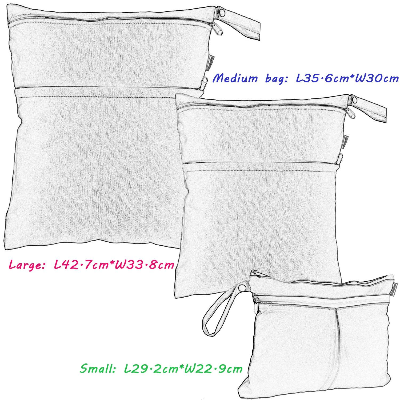 Multistreifen Damero 3 St/ück//Set Windeltasche mit wiederverwendbarem Stoff Wetbag Feuchtt/ücher Organiser Beutel