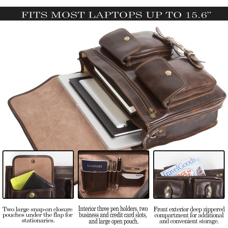 Luggage Depot USA, LLC Men's Alberto Bellucci Italian Leather Express Satchel D. Brn Laptop Messenger Bag, Dark Brown, One Size by Luggage Depot USA, LLC (Image #5)