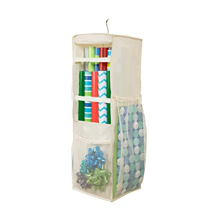 HomeCrate Hanging Wrapping Paper And Bow Organizer With 6 Mesh Compartments    In Beige 11u0026quot;