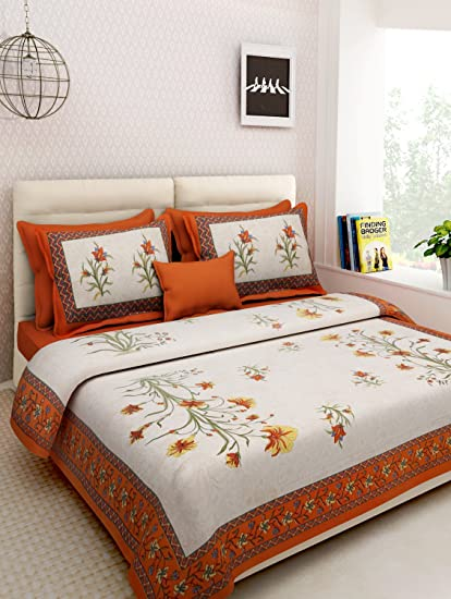 015ea302e09 Rajasthan Decor Screen Block Print Rajasthani King Size Bed Sheet With 2  Pillow Cover  Amazon.in  Home   Kitchen