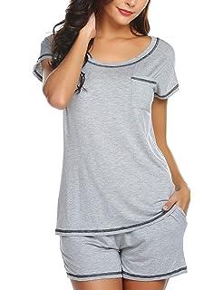 98d916bad7 Ekouaer Women Pjs Sets Short Sleeve T Shirt and Shorts Pajamas Sleepwear  Set Loungewear S-