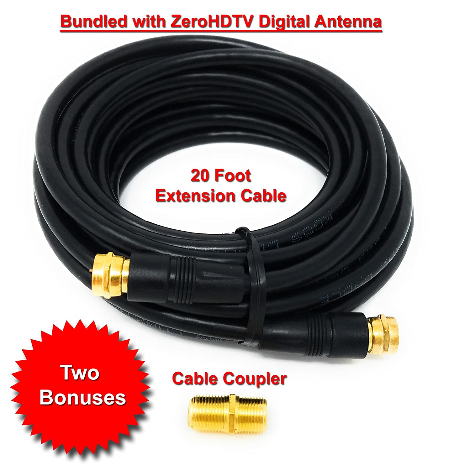 Amazon.com: ZeroHDTV Digital TV Antenna Bundle with 20 Extension Cable & Coupler. Long range reception - up to 120 mile range. Indoor outdoor use.