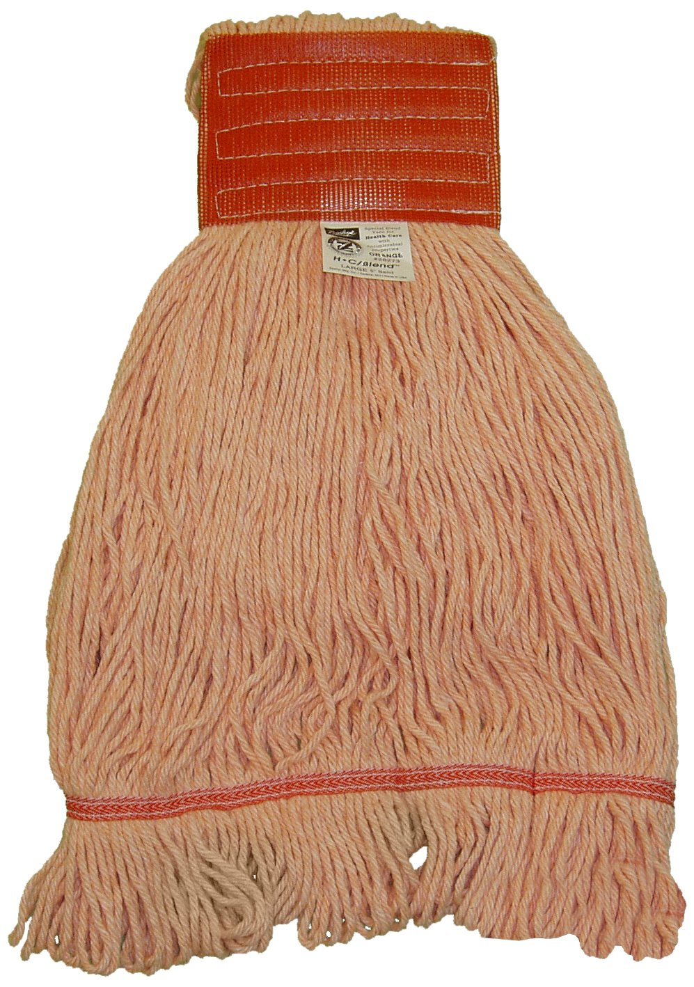 Zephyr 28274 HC/Blend Orange 4-Ply Yarn X-large Health Care Loop Mop Head with 5'' Mesh Wide Band (Pack of 12)