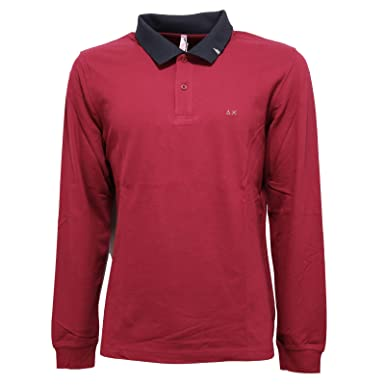 SUN 68 0339V Polo uomo Bordeaux Maglia t-Shirt Men [M]: Amazon.es ...