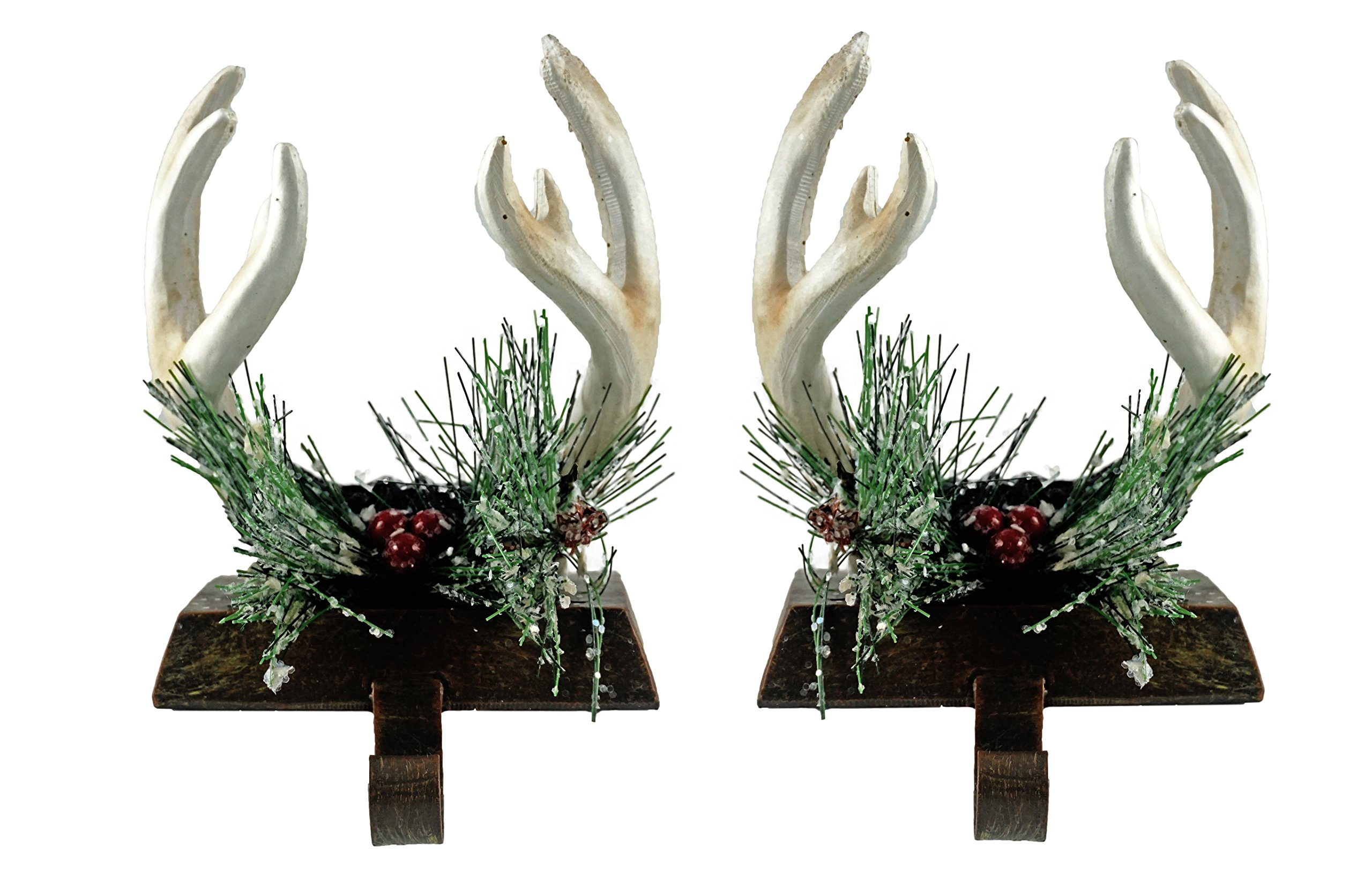 Caffco Wintry Antler Country Christmas Stocking Holders - Set of 2
