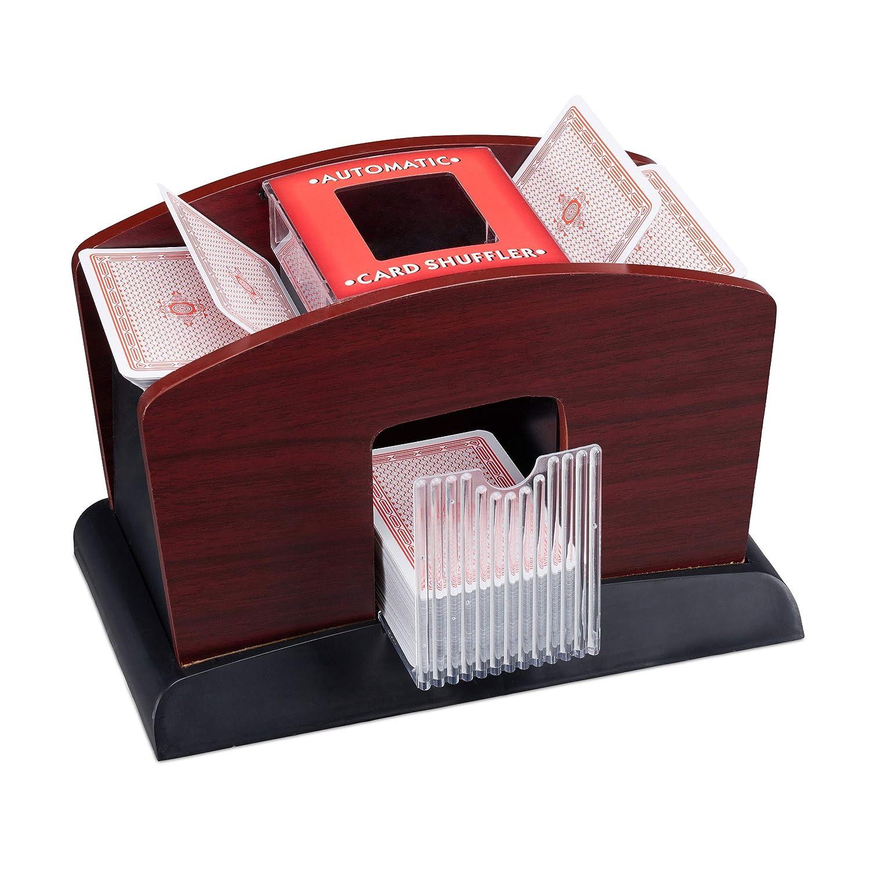 Relaxdays Kartenmischer Elektrisch, Holz, 4 Decks, Kartenmischmaschine zum Mischen von Karten, schwarz-braun 10023478