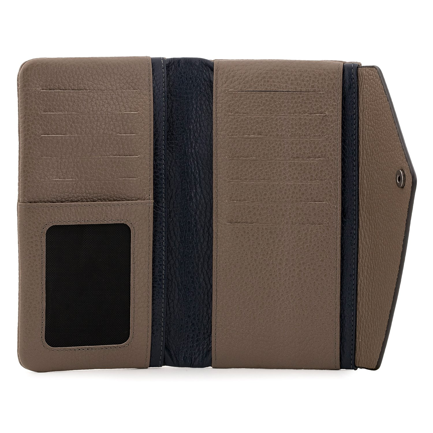 OTTO Genuine Leather Envelope Wallet with Phone Compatible Slots - RFID Blocking - Unisex (Navy Blue & Mink) by OTTO Leather (Image #5)