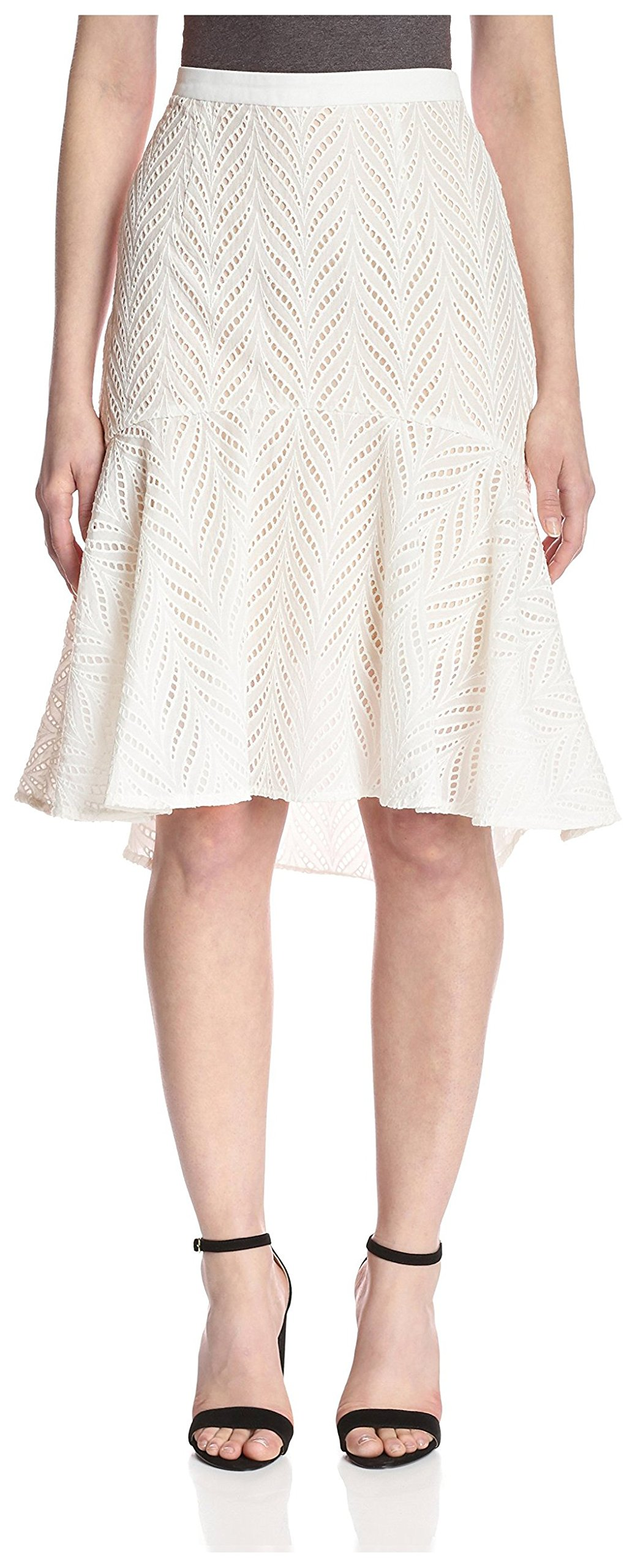 Aijek Women's Eyelet Skirt, Ivory, 2 US