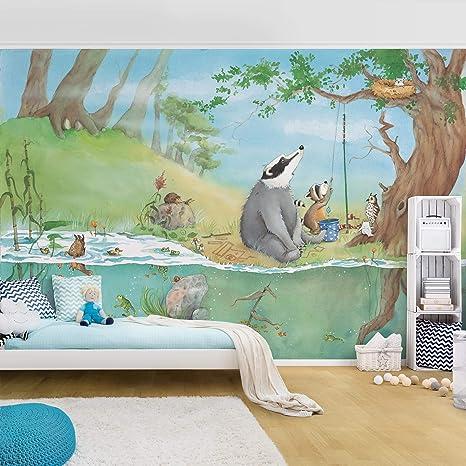 Apalis Fototapete Kinderzimmer Wassili Waschbär I Ein Fahrstuhl für Elsa I  liebevolle Tapete Kinderzimmer Jungen & Mädchen, Wandtapete Elsa, Märchen  ...
