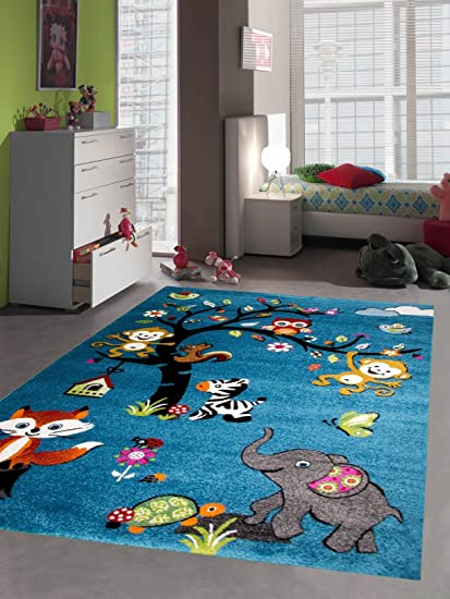 Traum Kinderteppich Spielteppich Kinderzimmer Teppich Zootiere in Blau  Größe 120x170 cm