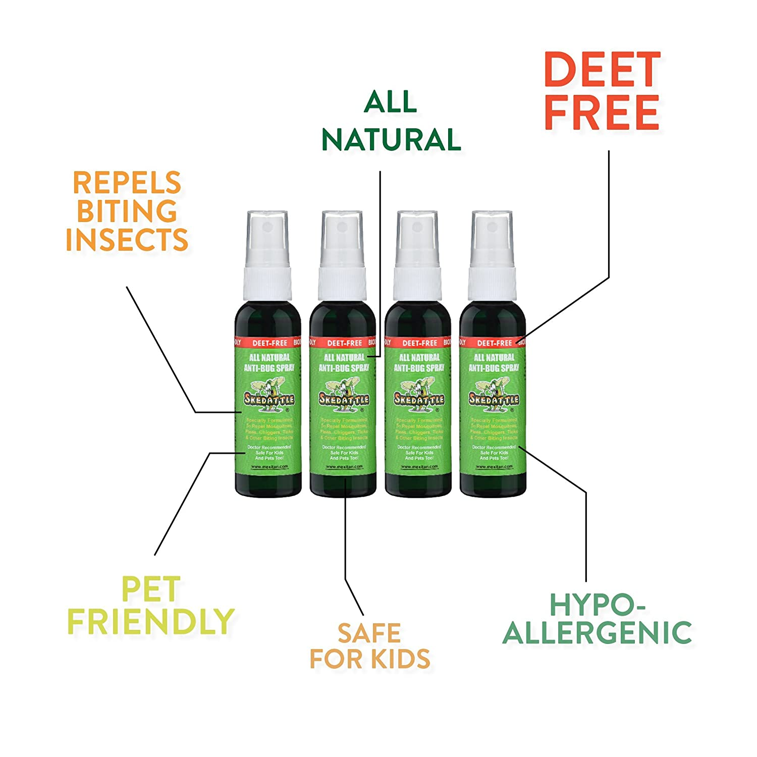 Skedattle All Natural Insect Repellent Deet Free Beauty Barn Kid Citronella Body Oil Safe For Kids And Pets 2 Fl Oz Travel Spray 4 Pack Sports Outdoors