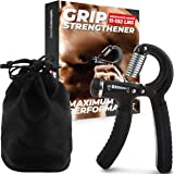 Grip Strength Trainer, Adjustable Hand Grip Strengthener, Forearm Exerciser, Finger Strengthener Trainer (11 to 132 LB), Wris