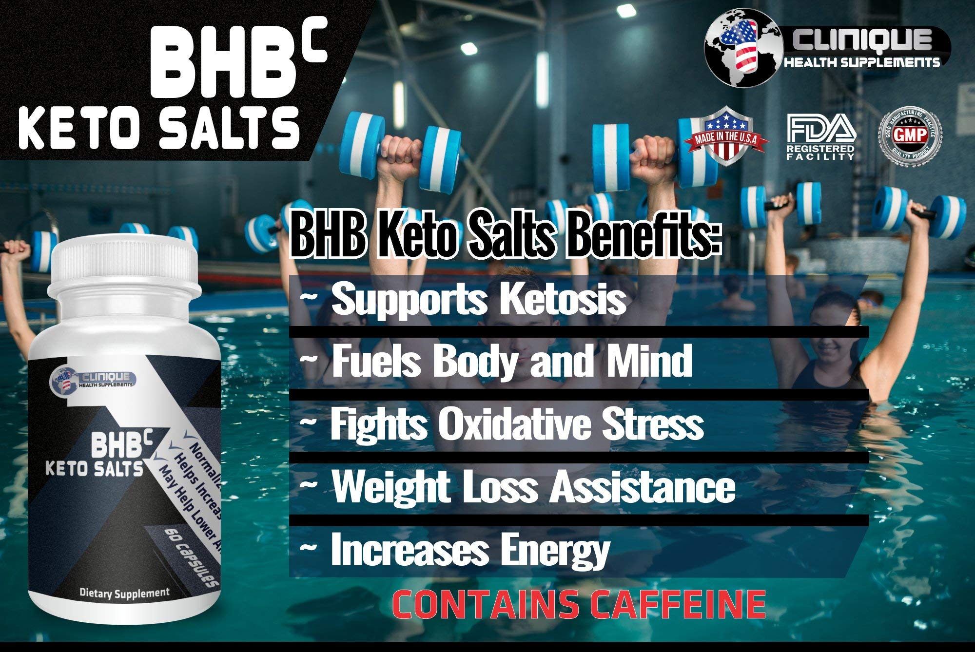 1Clinique's BHB Keto Salts | Value Pack 6 x 60 Capsules | Supports ketosis | Magnesium, Calcium, and Sodium Beta-Hydroxybutyrate | Pure Energy Source | Made in USA by 1Clinique (Image #2)