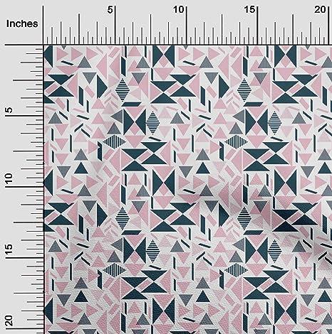 Impresión geométrica Triángulo Gris Azul jersey de algodón con elastano Confección