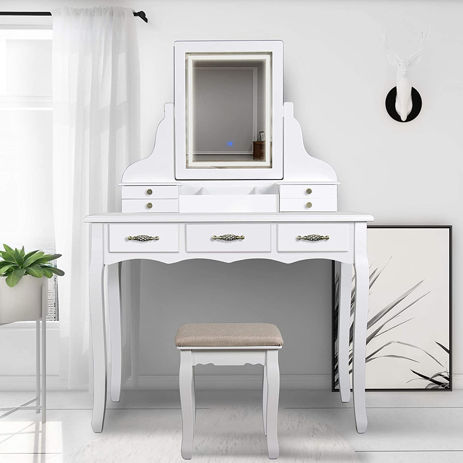 Amazon Com Scyl Color Your Life Vanity Table Set With Lighted Led Mirror 7 Drawers Makeup Dressing Table With Cushioned Stool Easy Assembly White Kitchen Dining