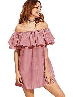 4e53990002d2 SheIn Women s Vintage Off Shoulder Short Sleeve Floral Print Flare ...