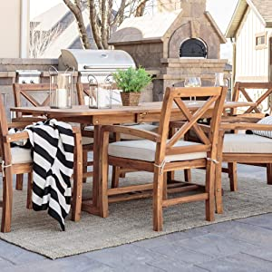 Walker Edison Maui Classic 7 Piece Acacia Wood Outdoor Dining Set with X Back Chairs, Set of 7, Brown