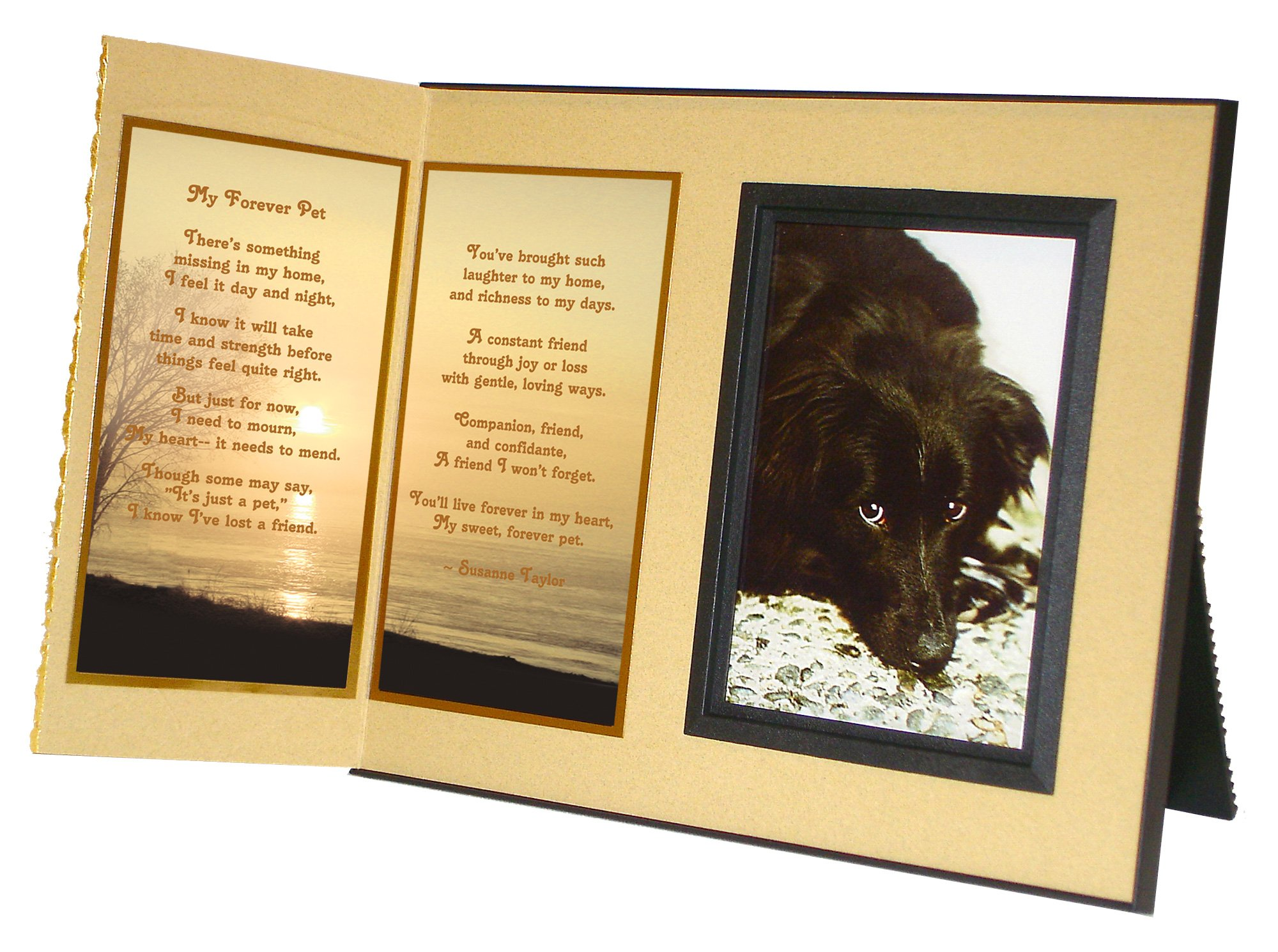 Pet Lover Remembrance Gift, ''My Forever Pet'' Poem, Memorial Pet Loss Picture Frame Keepsake and Sympathy Gift Package, Ginger with Foil Accent