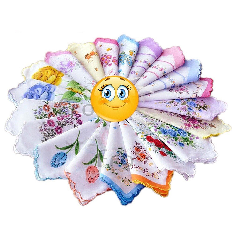 New Ladies Women Child 100% Cotton Flower Vintage Handkerchiefs Hankies