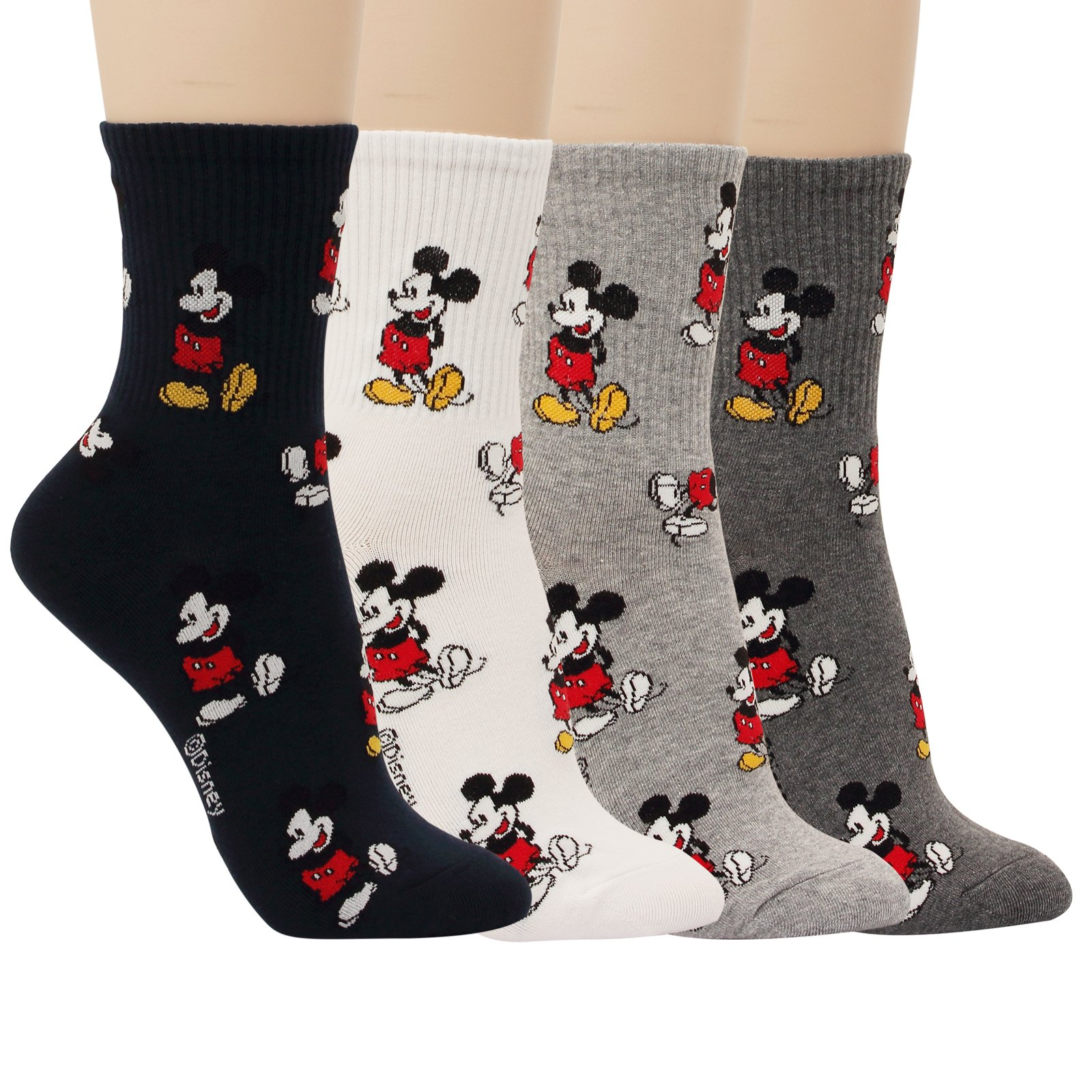 Disney Pixar Character Women Crew Socks For Girl Boy Teenagers Cotton (ModelNo.1-4pairs)