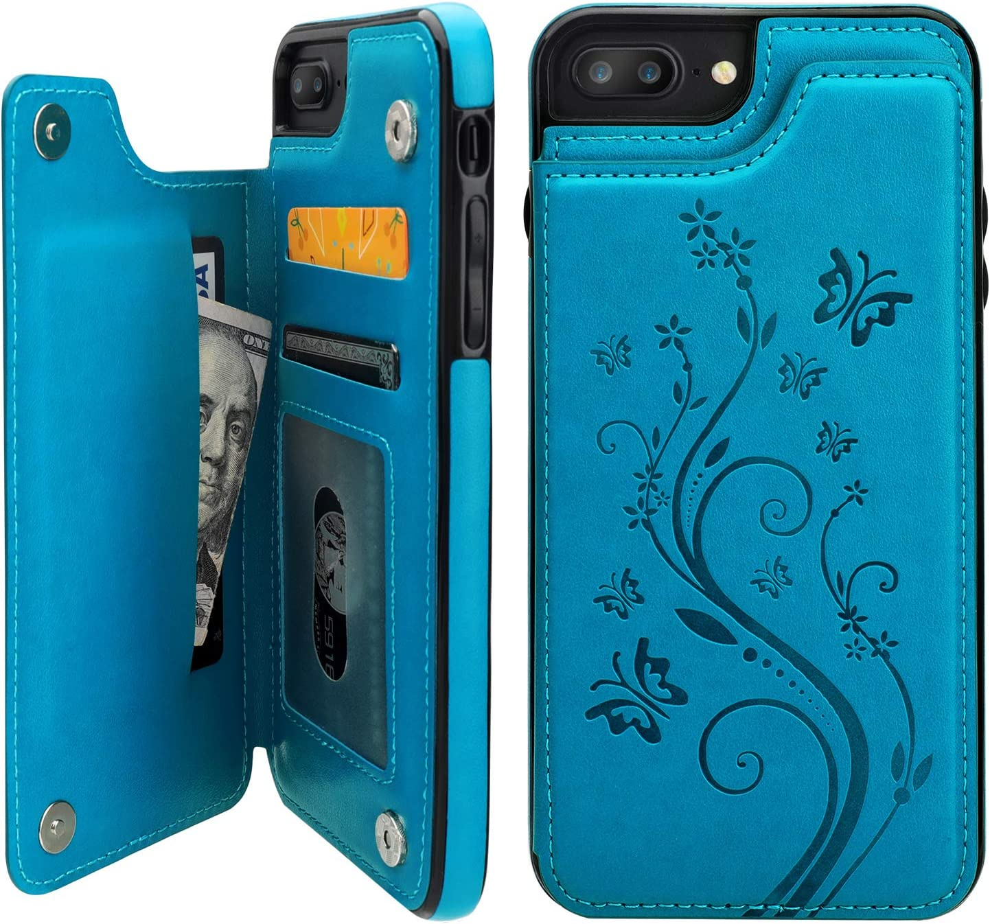 Vaburs iPhone 7 Plus iPhone 8 Plus Case Wallet with Card Holder, Embossed Butterfly Premium PU Leather Double Magnetic Buttons Flip Shockproof Protective Cover for iPhone 7/8 Plus Case(Blue)