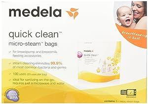 Medela Quick Clean Micro-Steam Bags, 2 Packs of 5 bags