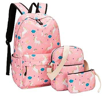 Amazon.com  School Backpack for Girls Cute School Bookbag set Teens Womens  Boys Waterproof fit 15.6 inch Laptop Travel Daypack (Unicorn - Pink 02)   UPSTORE a6dbc9c986608