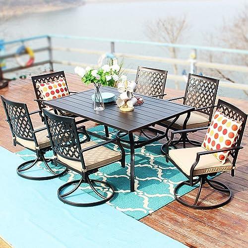 PHI VILLA Outdoor Patio Dining Set of 7 Metal Furniture Set
