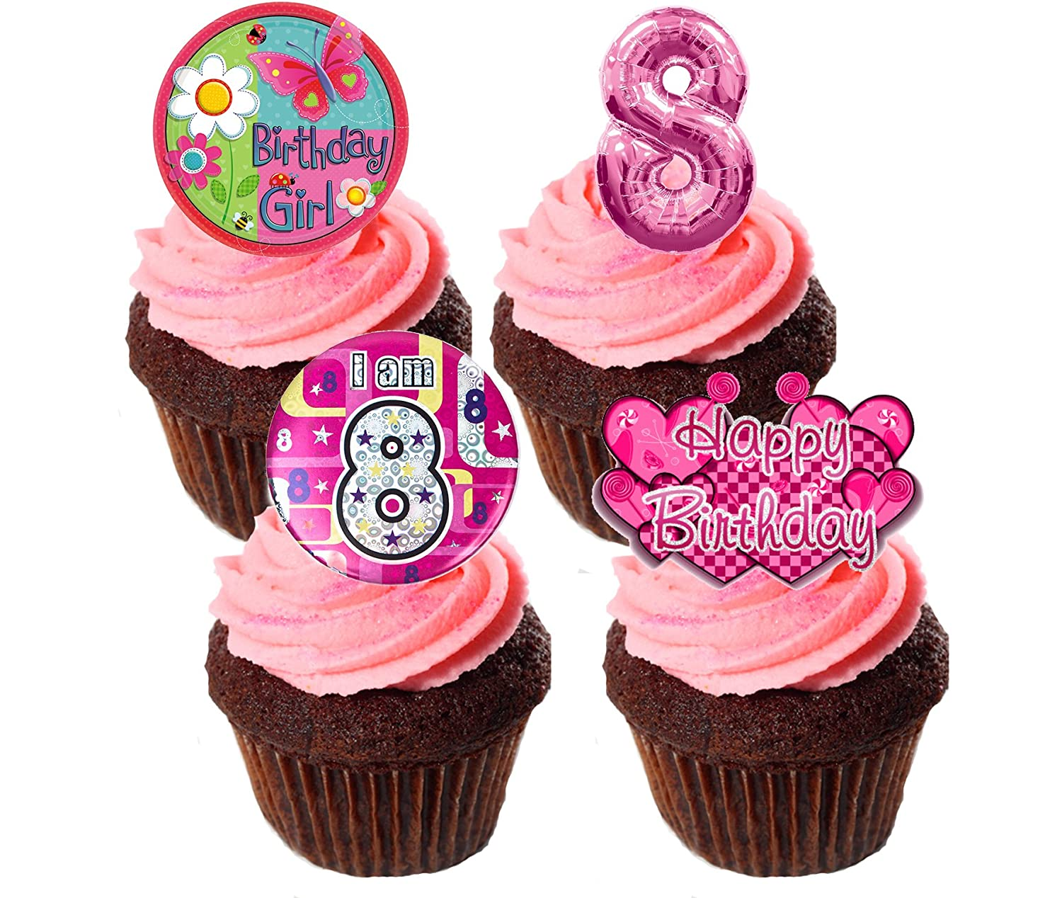 Admirable 8Th Birthday Girl Edible Cupcake Toppers Pink Stand Up Wafer Funny Birthday Cards Online Inifofree Goldxyz