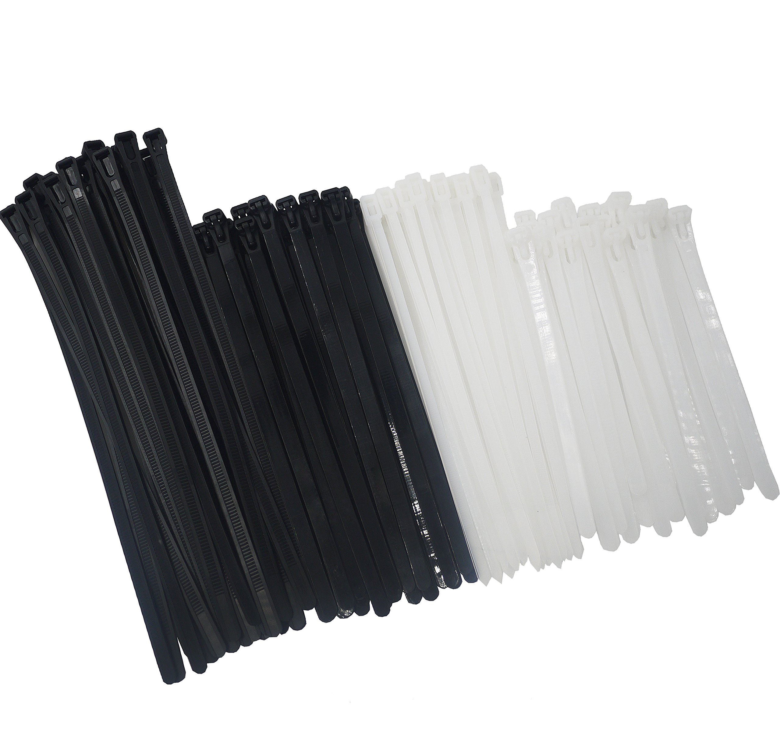 Reusable Releasable Adjustable Nylon Cable Zip Ties 100 PACK 6+8(Small)+8+10 Inch Assorted Black & White, Self-Locking Plastic Wire Ties for Organization, Plant ties, 50 Lbs Tensile Strength