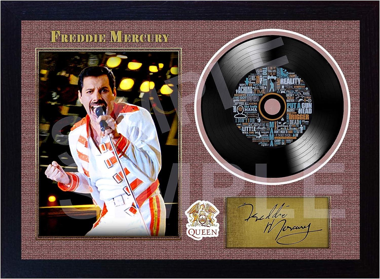 Photo encadr/ée Freddie Mercury Queen Bohemian Rhapsody d/édicac/ée en Vinyle SGH SERVICES Nouveau