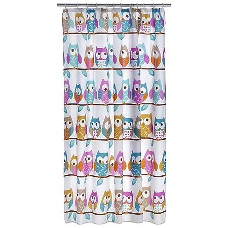Axentia Owl Shower Curtain Multi Colour Hanging Bath For And Bathtub