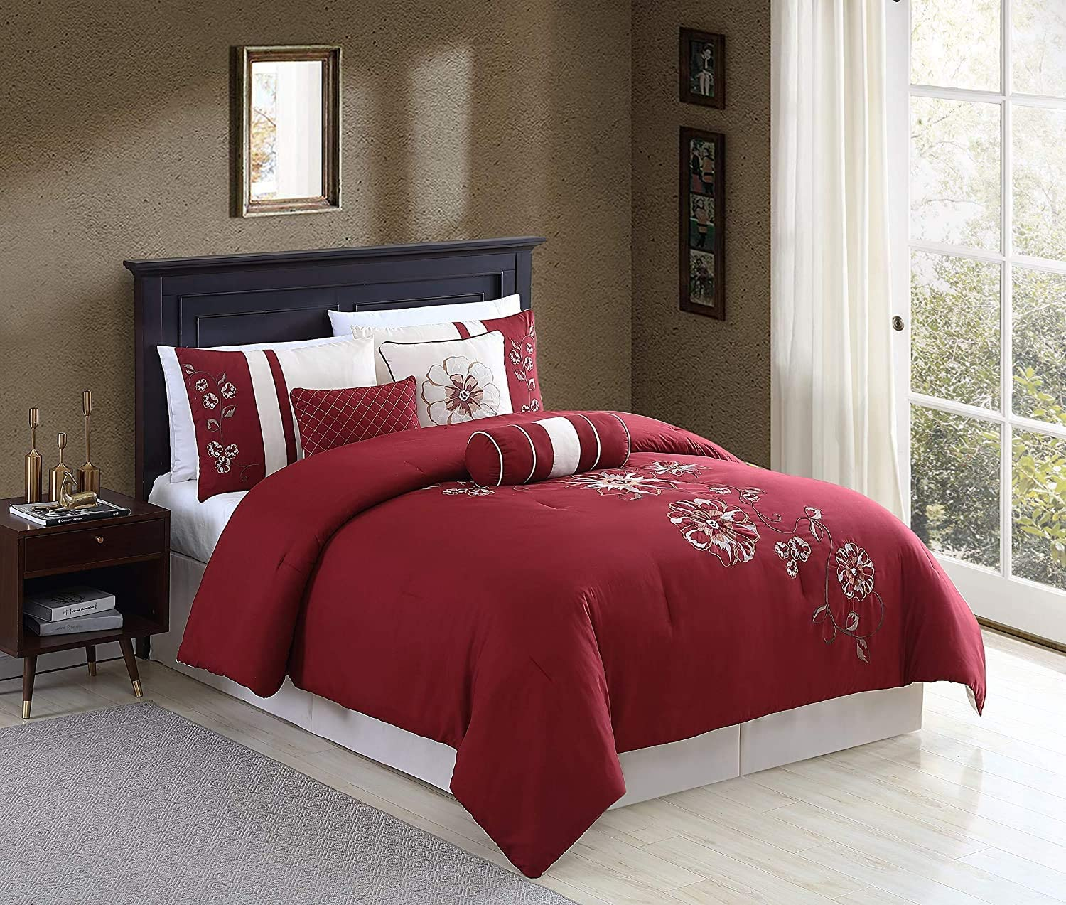Chezmoi Collection 7-Piece Red Floral Hibiscus Embroidery Beige Comforter Bedding Set