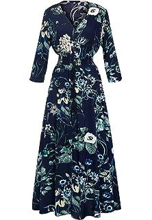 Womens Dress Button up Split Maxi Boho Bohemian Floral Print Beach Long Vestido
