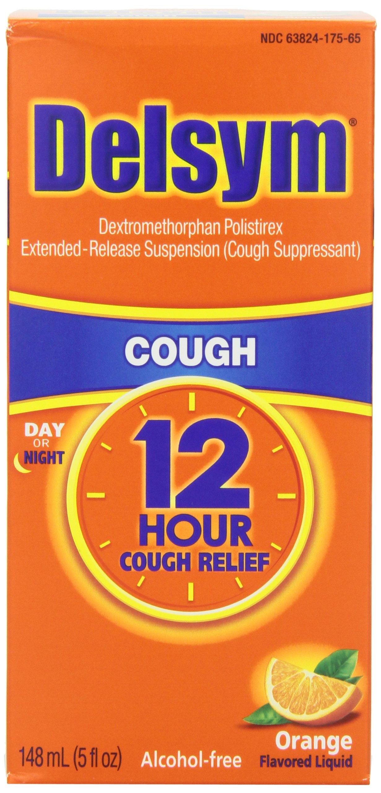Delsym Adult 12 Hr Cough Relief Liquid, Orange, 15oz (3X5oz) by Delsym