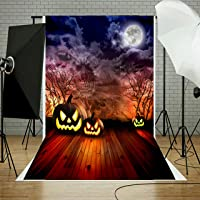 Abeststudio 5x7FT Halloween Theme Pictorial Cloth Photography Backdrop Background Studio Prop Backdrop Horror Night Pumpkin Lamps Old Tree Branch Scary Tombstone Photography