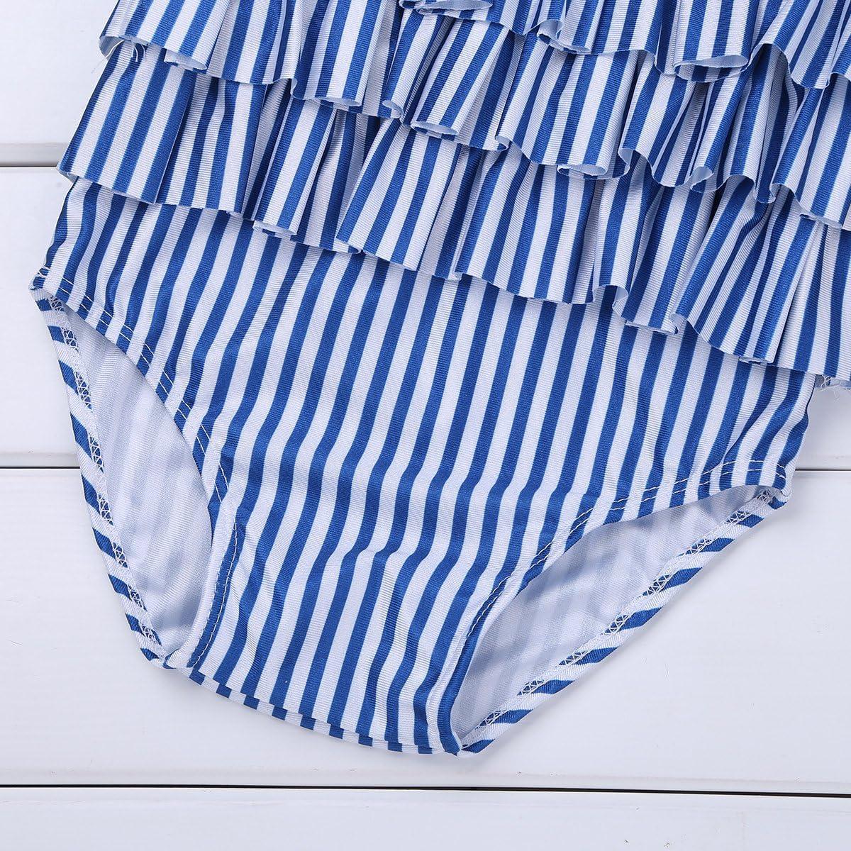 FEESHOW Toddler Baby Girls One Piece Striped Swimsuit Cutie Bowknot Ruffle Swimwear Bathing Suit Blue/&White 2T//3T