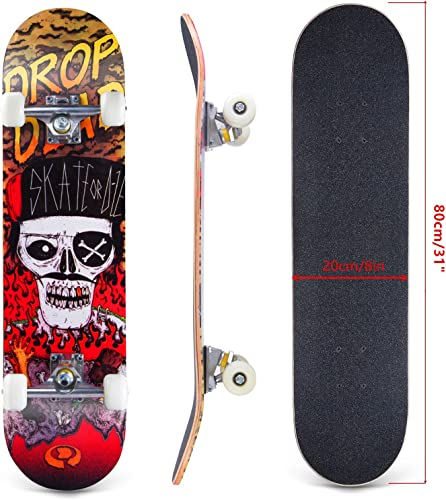 Karriw Skateboard 31 Inch Complete Standard Skateboard 8 Layer Maple Skateboard Deck with Sports Outdoors Durable Skate Board for Kids Beginners