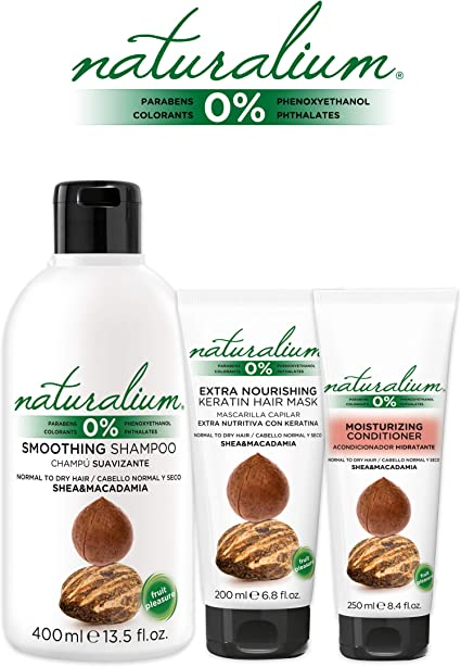 Naturalium PACK Cuidado Capilar Karité y Macadamia - Kit para el Cabello con Champú Suavizante 400 ml + Mascarilla Pelo 200 ml + Acondicionador Hidratante 200 ml: Amazon.es: Belleza