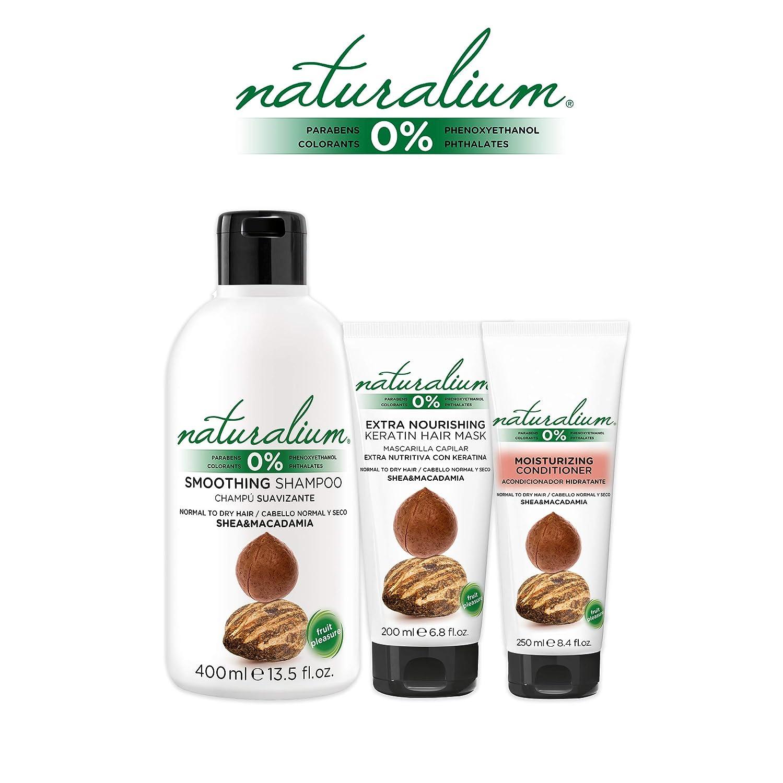 Naturalium PACK Cuidado Capilar Karité y Macadamia - Kit para el Cabello con Champú Suavizante 400 ml + Mascarilla Pelo 200 ml + Acondicionador Hidratante ...