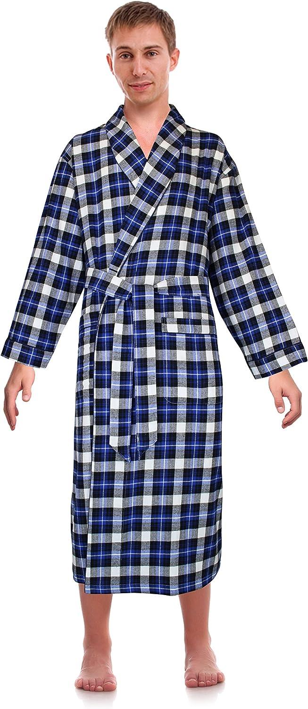 Casual Trends Classical Sleepwear Men's 100% Cotton Flannel Shawl Collar Robe,