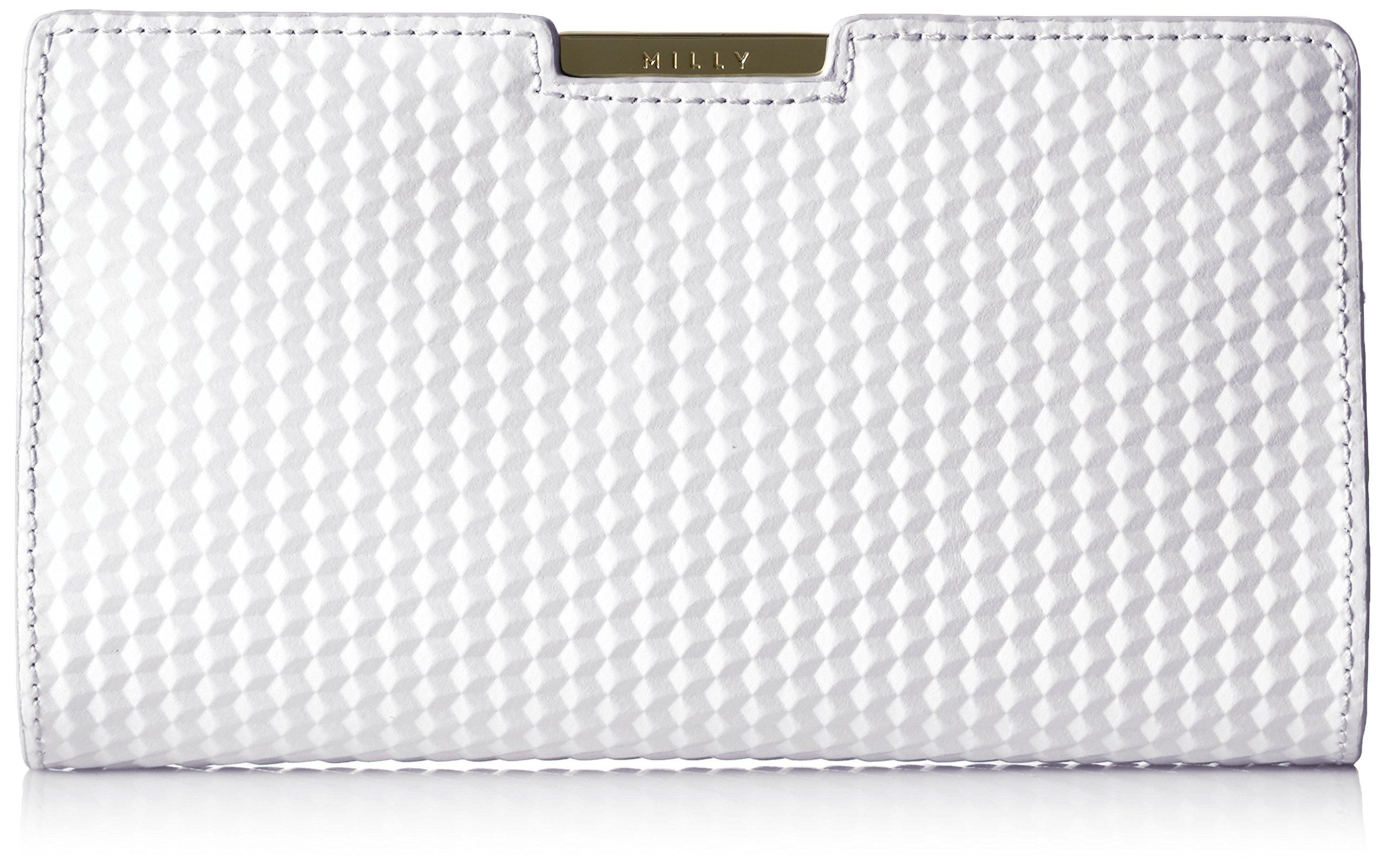 MILLY Geo Debossed Sm Frame Clutch, White by MILLY