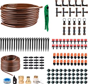 """KORAM OT-D 50 Feet Blank Distribution Tubing Hose Plant Watering Irrigation Drip Kit Accessories Include Atomizing Nozzle Mister Dripper, 1/2"""" 1/4"""" Tubing and Fittings"""