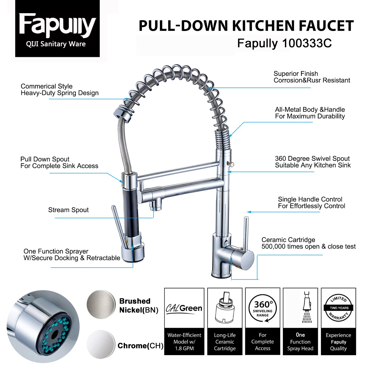 Fapully 100333C Modern High Spring Single Handle Single Hole Kitchen ...