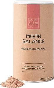 Your Super Moon Balance Superfood Mix - Natural Hormone Health, Reduce Mood Swings, PMS and Menopause - Organic Baobab, Maca, Hibiscus, Amla Berry, Beetroot, Shatavari- 7.05 Ounces, 40 Servings