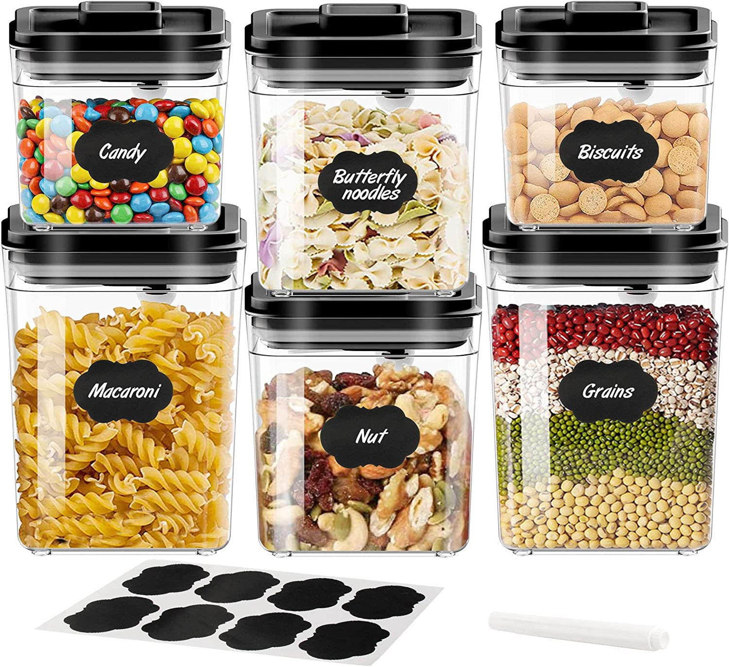 Samione Large Airtight Food Container Storage 6 Set 2.3L/1.7L/1L, Pop Container Bpa Free Cereal Food Organization [New Version] for Kitchen Pantry Sugar,Cereal,Flour,Snacks,Baking