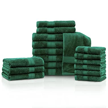 Blue Nile Mills Rayon from Bamboo and Cotton, 18-Piece Bathroom Towel Set, Highly Absorbent, Super Velvety Soft, Dobby Checkered Dual Border, Hunter Green