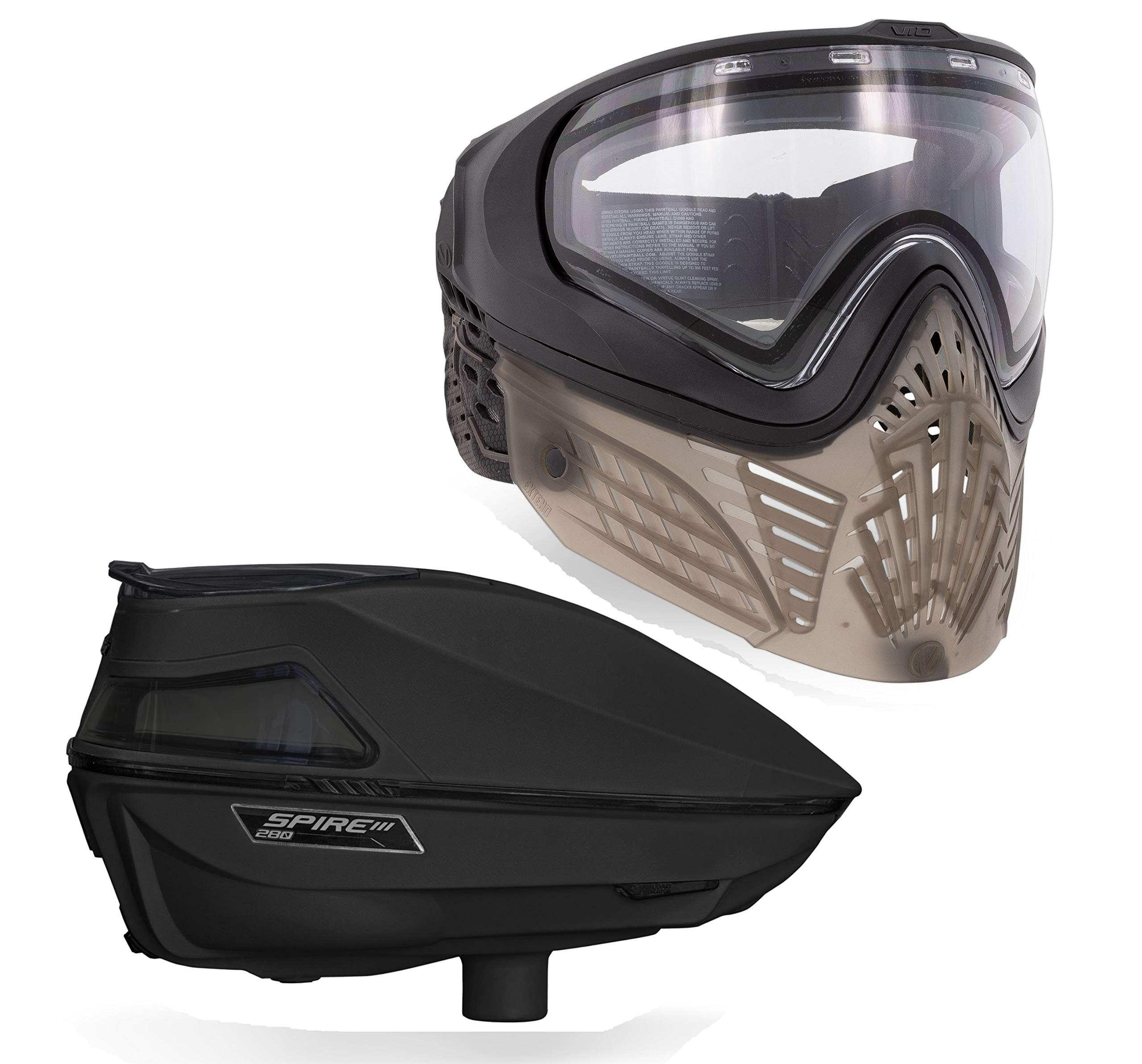 Virtue VIO Extend II Paintball Goggle and Spire III 280 Paintball Loader Bundle - Black Clear by Virtue Paintball