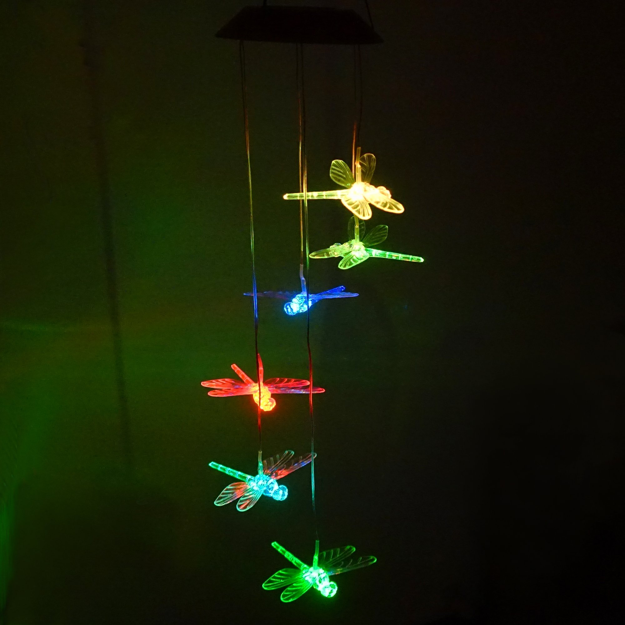 Clear Animal Solar Operated Mobile Wind Spinner Color Changing Wind Chime Light (dragonfly)