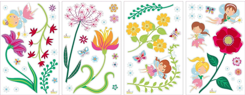 SG/_B01MCXTESN/_US Fairy Flowers Garden Decorative Peel /& Stick Wall Art Sticker Decals for Kids Room and Nursery Cherry Creek Inc